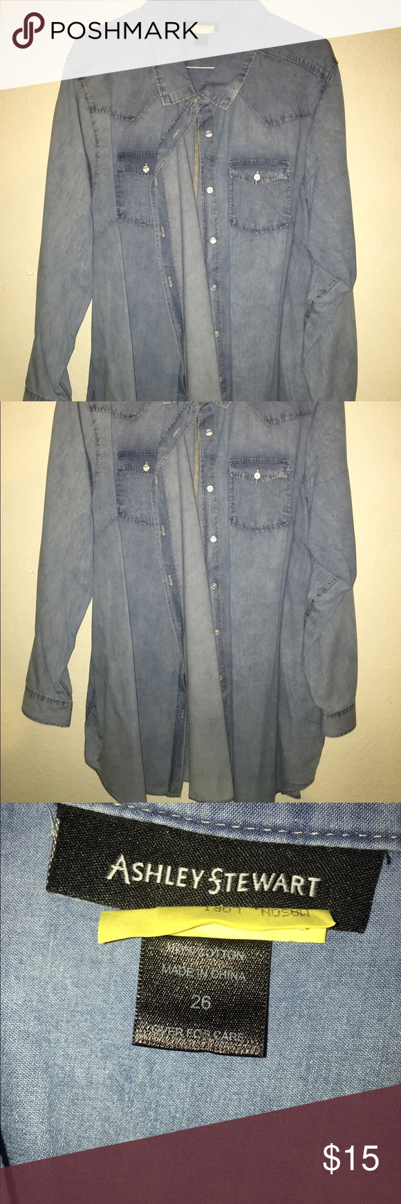 Peplum Denim Shirt Ashley Stewart  size 26 Denim peplum jacket. Worn once. Dry cleaned. Ashley Stewart Tops Button Down Shirts