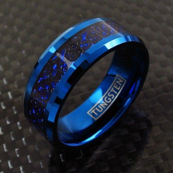 Details About 8mm Blue Tungsten Black Celtic Dragon Stripe Band