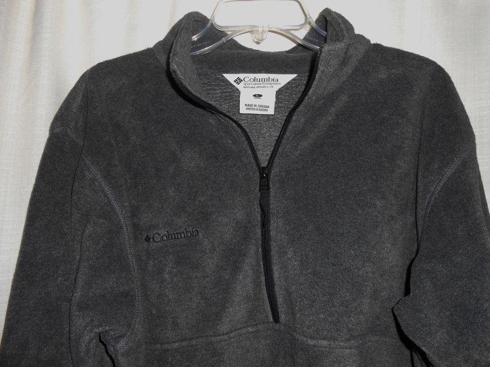 COLUMBIA Pullover Jacket Unisex Men/Women Sz L 1/2 Zip Fleece Gray Long Sleeve #Columbia #Fleece