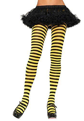 3b46ba30c73e4 Leg Avenue Women's Nylon Striped Tights, Black/Yellow, One Size ...