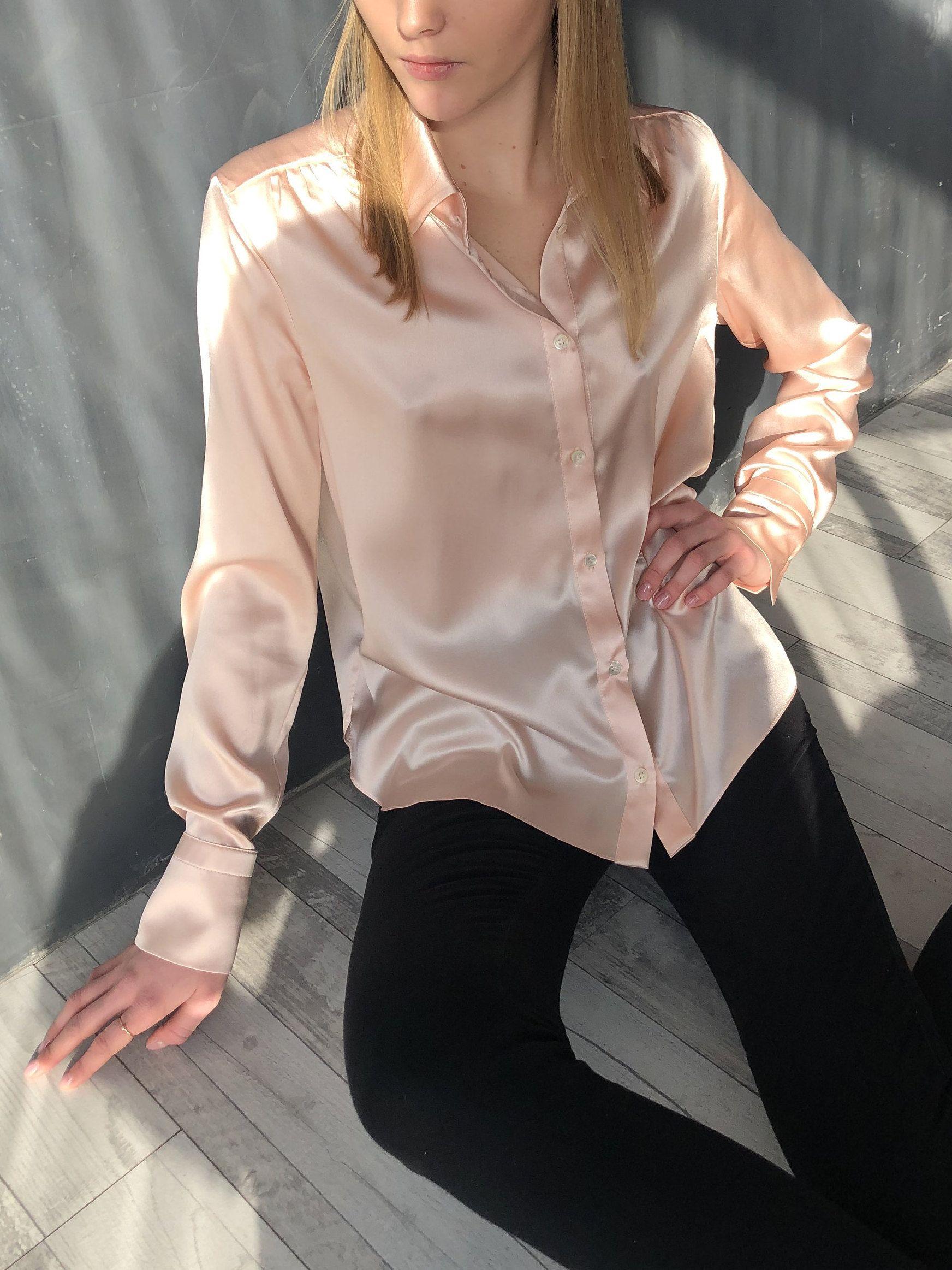 Pin By Ghaida Al Ghanim On Silk Blouses Shirts Silk Outfit Silk Loungewear Clothes [ 2325 x 1744 Pixel ]