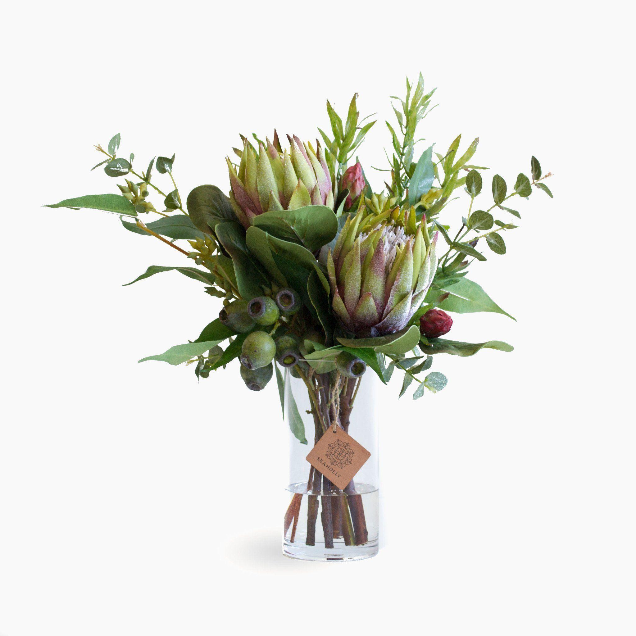 Green Protea And Leucadendron Fake Flower Arrangements Artificial Flower Arrangements Artificial Flowers Wedding