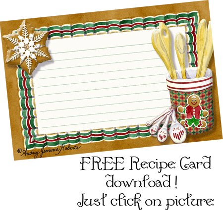 Free Christmas Cookie Recipe Card Digital Clip Art By Audrey Jeanne Roberts Recipe Cards Printable Recipe Cards Christmas Recipe Cards