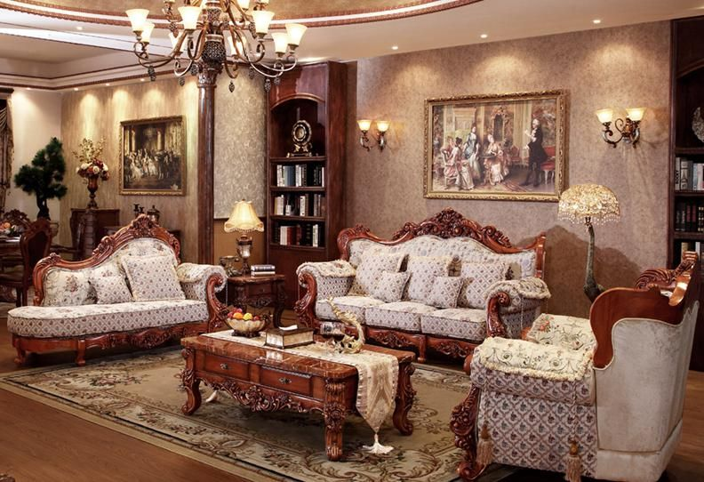 French Style Fabric Sofa Sets Living Room Furniture Antique Style Wooden Sofa From Foshan Market Antique Living Rooms Sofa Set Wooden Sofa