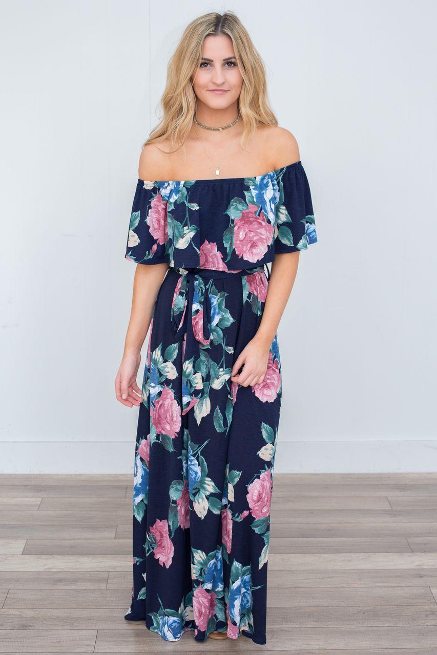 1a3be941a0532 Floral Print Off The Shoulder Maxi Dress - Navy - Magnolia Boutique ...