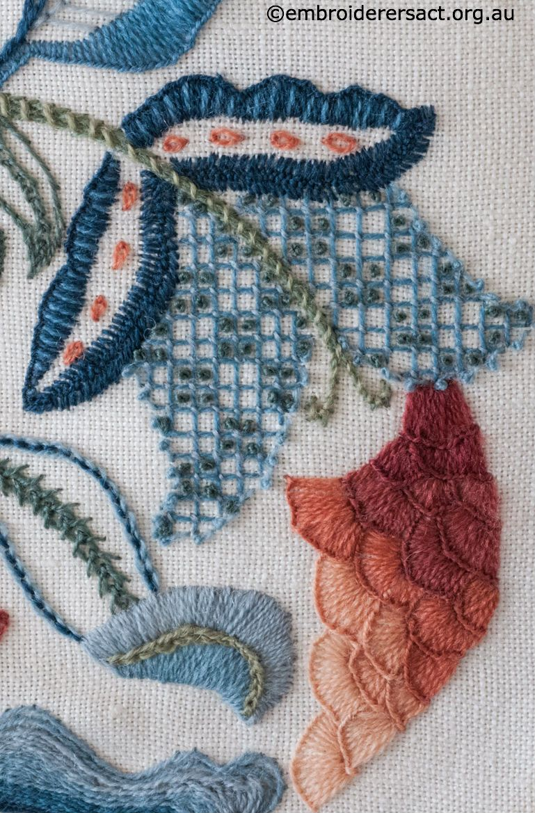 Crewelwork Blue Flower Hand Embroidery Crewel