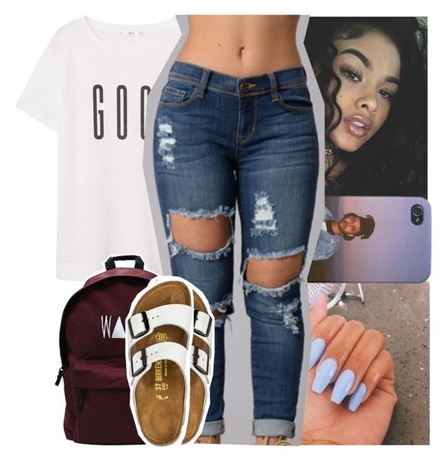 """""""old soul I was born in the 9 O's☺"""" by theyknowtyy ❤ liked on Polyvore featuring MANGO and Birkenstock"""