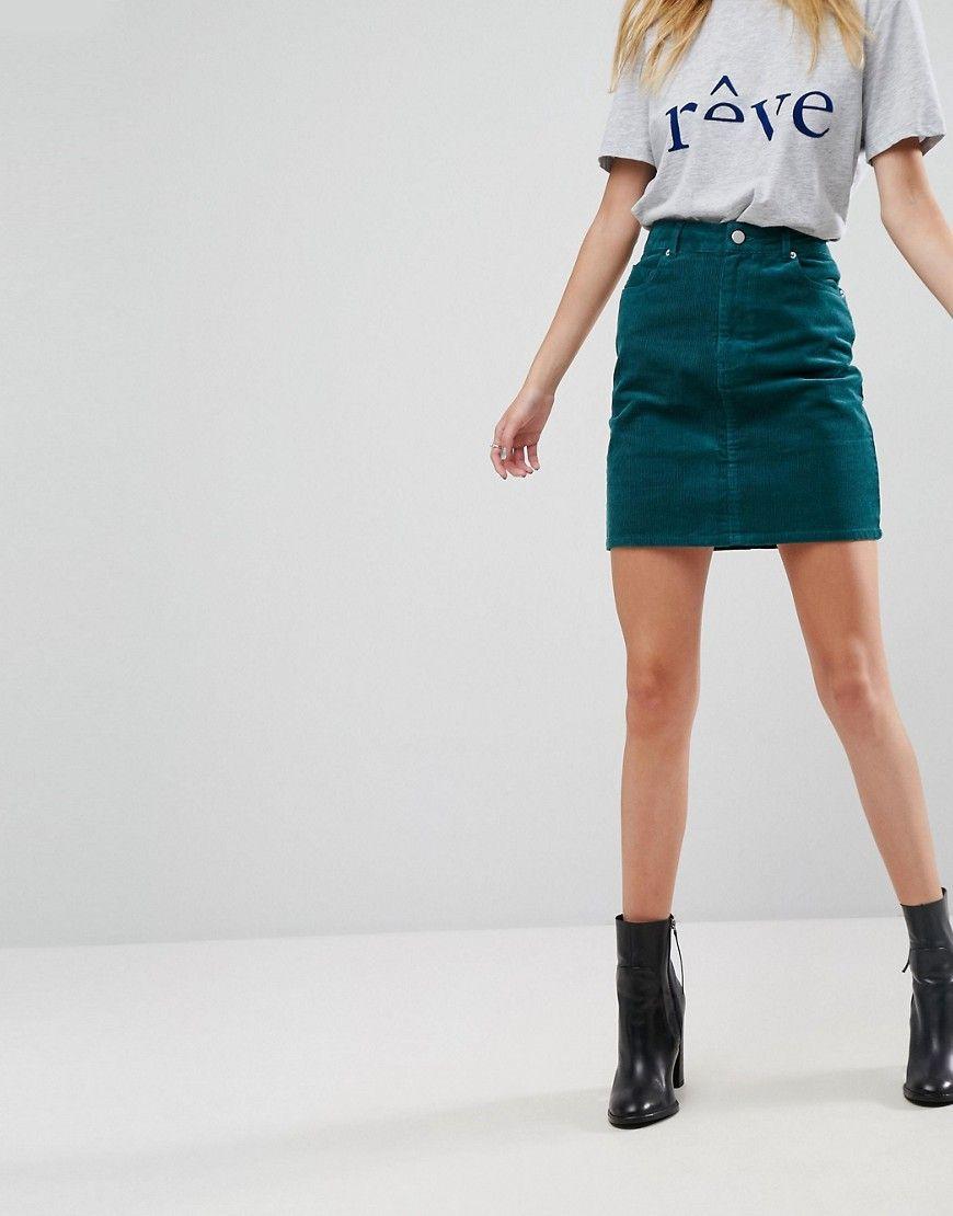 a9cd6a3551 ASOS Cord Original Skirt in Emerald Green - Green | Women in Jean ...