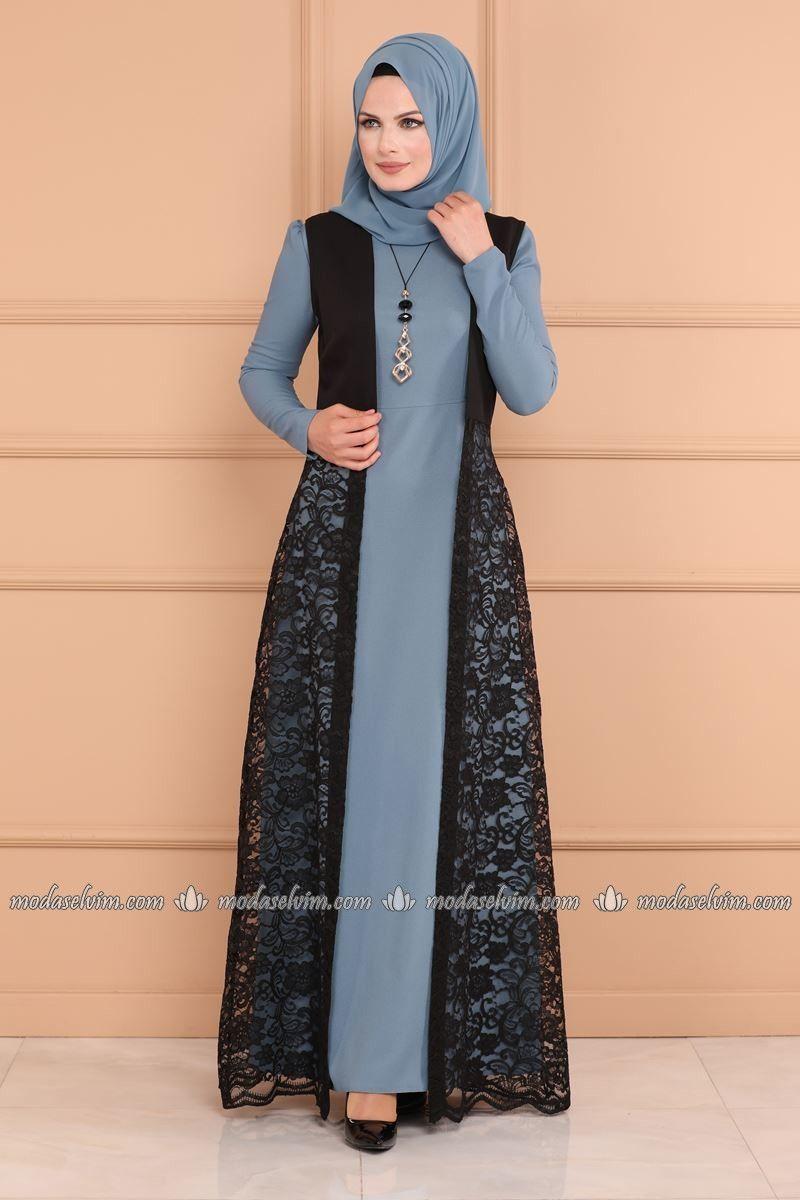 Moda Selvim Yelegi Dantel Elbise Kombin Asm2097 Bebe Mavisi Model Baju Wanita Model Pakaian Model Pakaian Hijab