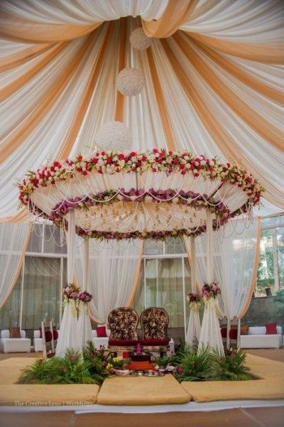 Photo Of Canopy Drapes And Floral Wedding Decor Indian Wedding Decorations Floral Wedding Decorations Wedding Stage Decorations