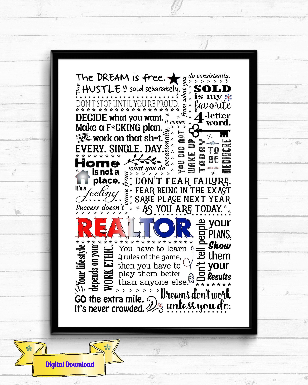 Realtor Appreciation Gift Realtor Gifts Real Estate Agent Gift Thank You Realtor Gift Realtor Quotes Realtor Print Realtor Gifts Grad Gifts Words
