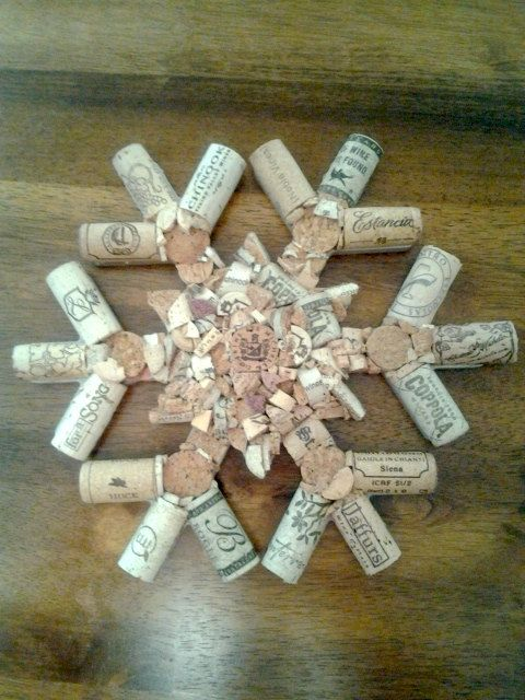 """One-of-a-kind wine cork snowflake is 10"""". There are over 20 used."""