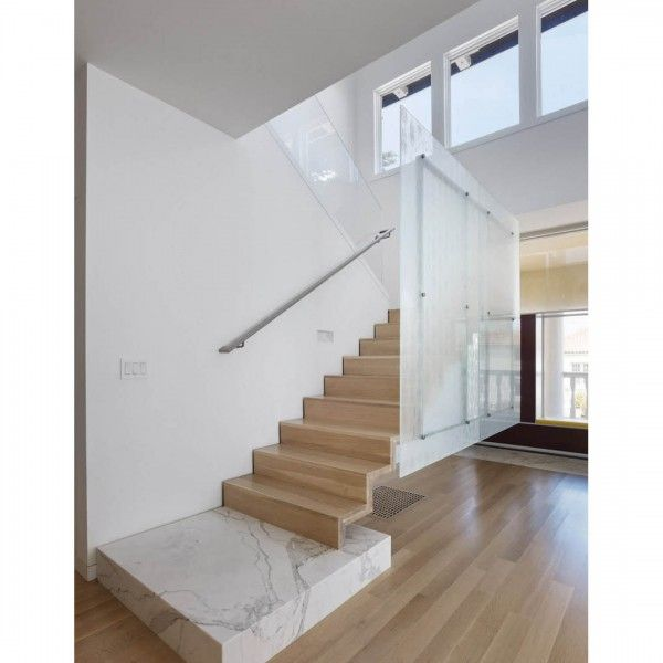 Detailed Modern Remodel At The Golden Gate With Cantilevered | Glass Staircase Panels Near Me | Modern Staircase Railing | Tempered Glass | Wood | Stair Balustrade | Stair Case