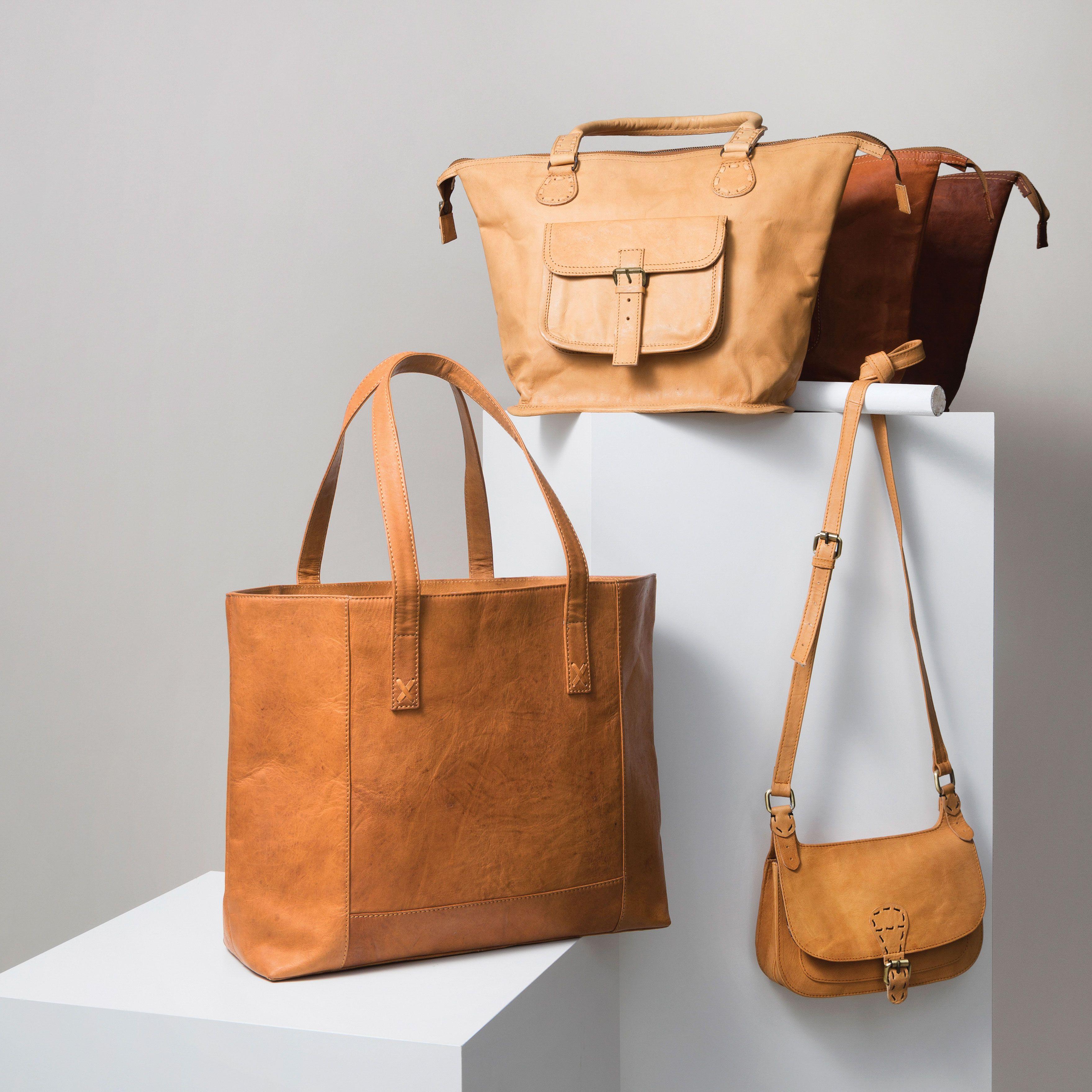 98c08b3115c5 Fair Trade, Accessories, Handbag, India, Modern Leather Tote, Goat ...