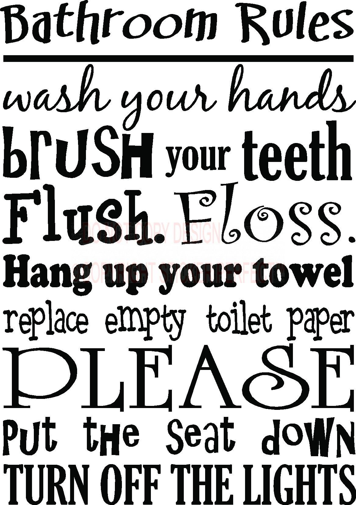Bathroom Rules Wall Art Bathroom Rules Cute Inspirational Vinyl - Custom vinyl wall decals sayings for bathroom