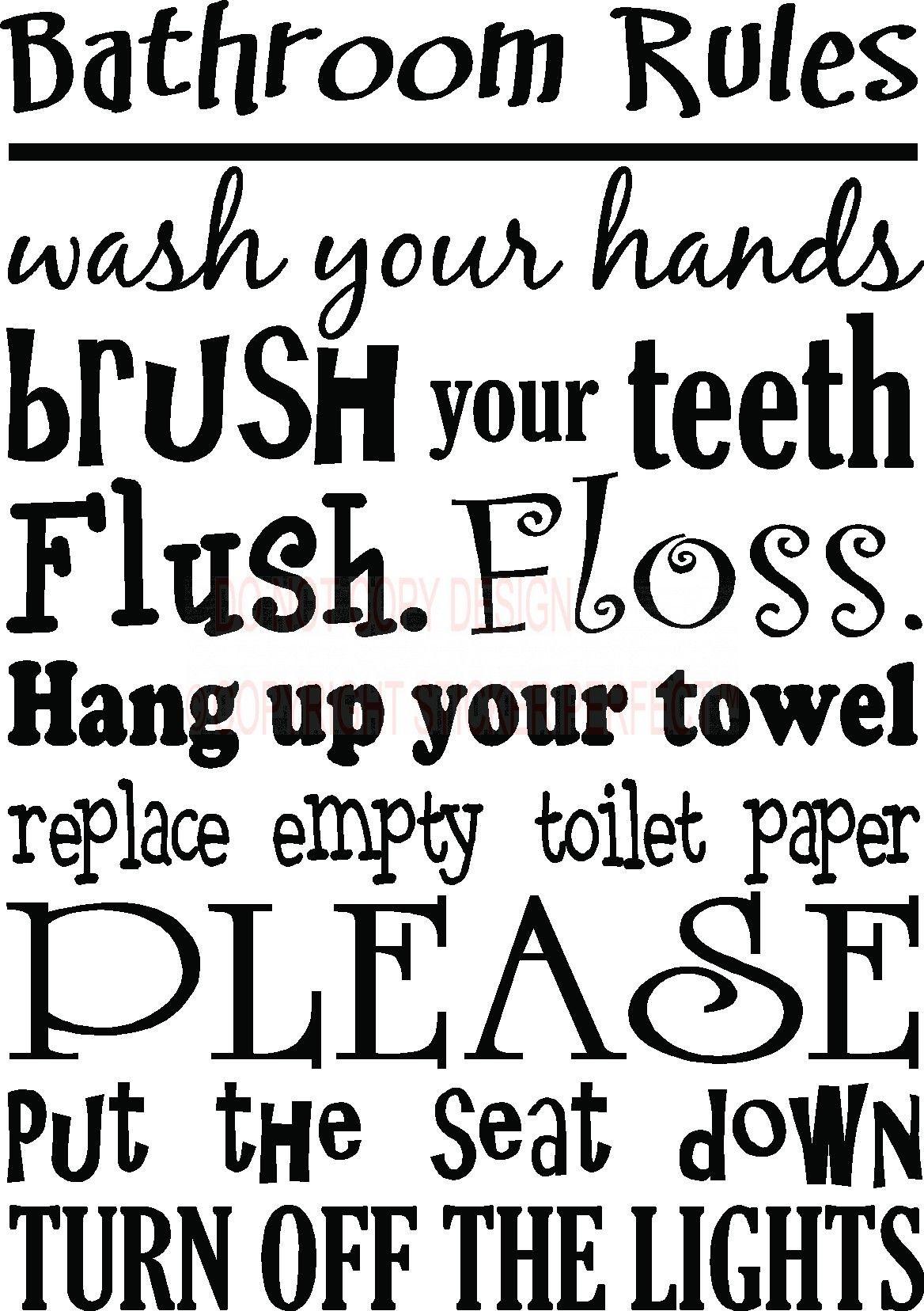 bathroom rules wall art | Bathroom Rules Cute ...