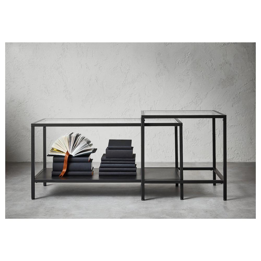 Vittsjo Set 2 Mese Negru Maro Sticlă 90x50 Cm Ikea Coffee Table Small Space Nesting Tables Cool Coffee Tables [ 1000 x 1000 Pixel ]