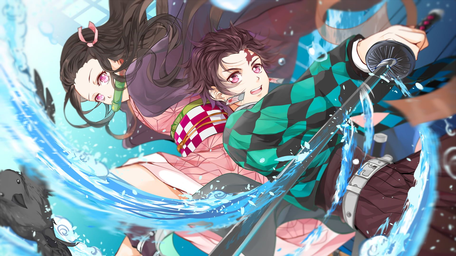 Anime Demon Slayer Kimetsu No Yaiba Belt Boy Brown Hair Earrings Girl Katana Kimetsu No Yaiba Long Hai In 2020 Anime Cool Anime Wallpapers Sailor Moon Wallpaper