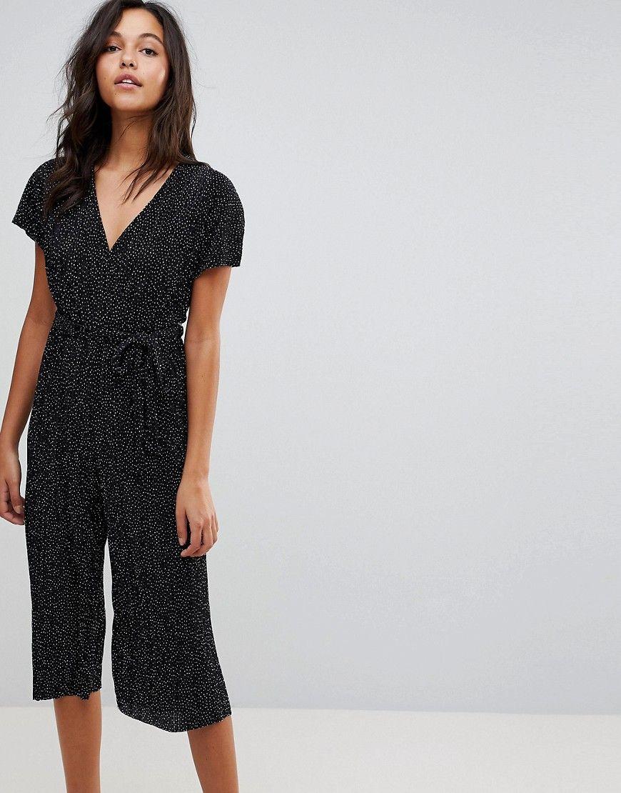New look polka dot plisse wrap culotte jumpsuit black products