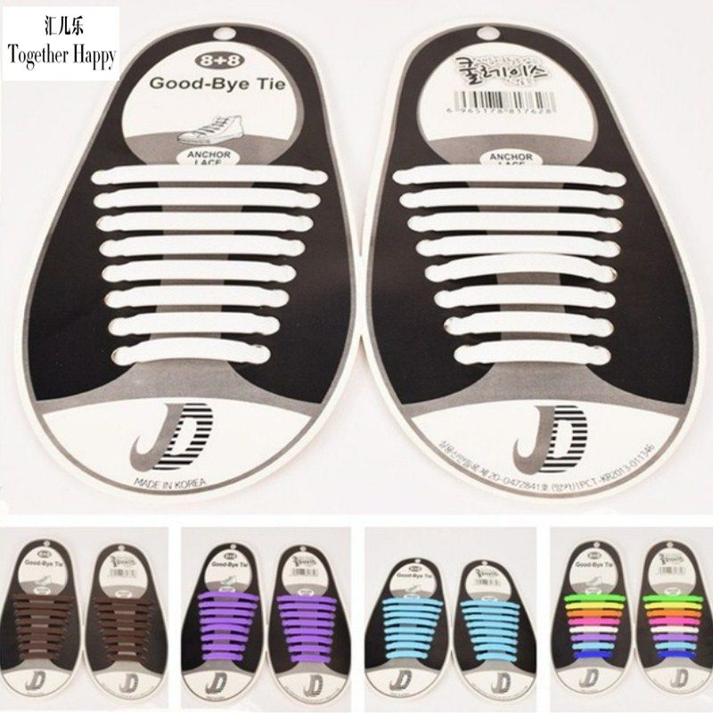 12Pcs Cool Elastic Silicone Easy No Tie Shoelaces Shoe Lace Set Adults Kid