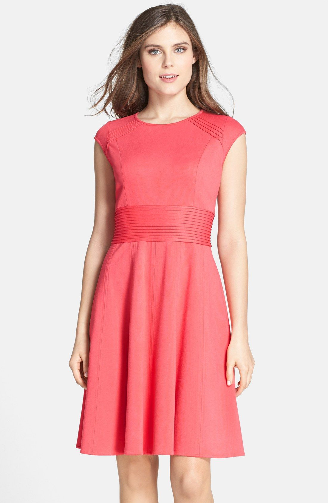 Fit and flare dress wedding  Pintucked Waist Seamed Ponte Knit Fit u Flare Dress   Nordstrom