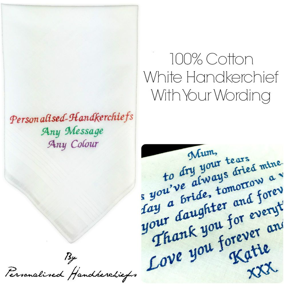 Details about 100% COTTON ANY WORDING EMBROIDERED PERSONALISED ...
