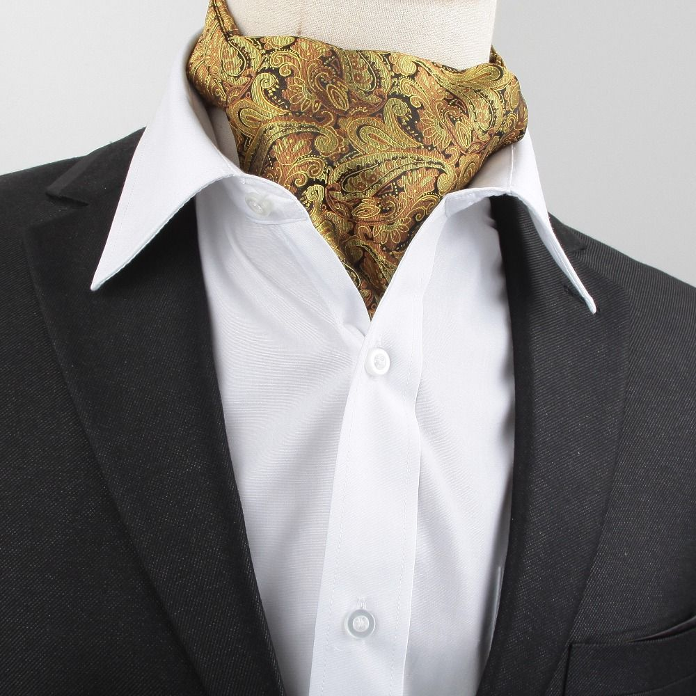New Men Vintage Wedding Formal Brand Name Cravat Ascot Scrunch Self Neck  Tie Gold Black Paisley Scarf or men 9ac25a13f7a