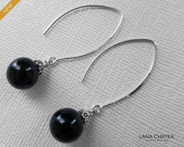 Black Pearl Sterling Silver Earrings Swarovski 10mm Mystic Black Pearl Drop Earrings Wedding Gift Jewelry Long Dangle Pearl Earrings Sterling Silver Earrings Grey Pearl Earrings Silver Earrings