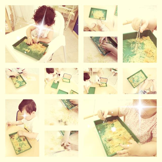 Bandejas sensoriales. Método Montessori. Escuela infantil de primer ciclo