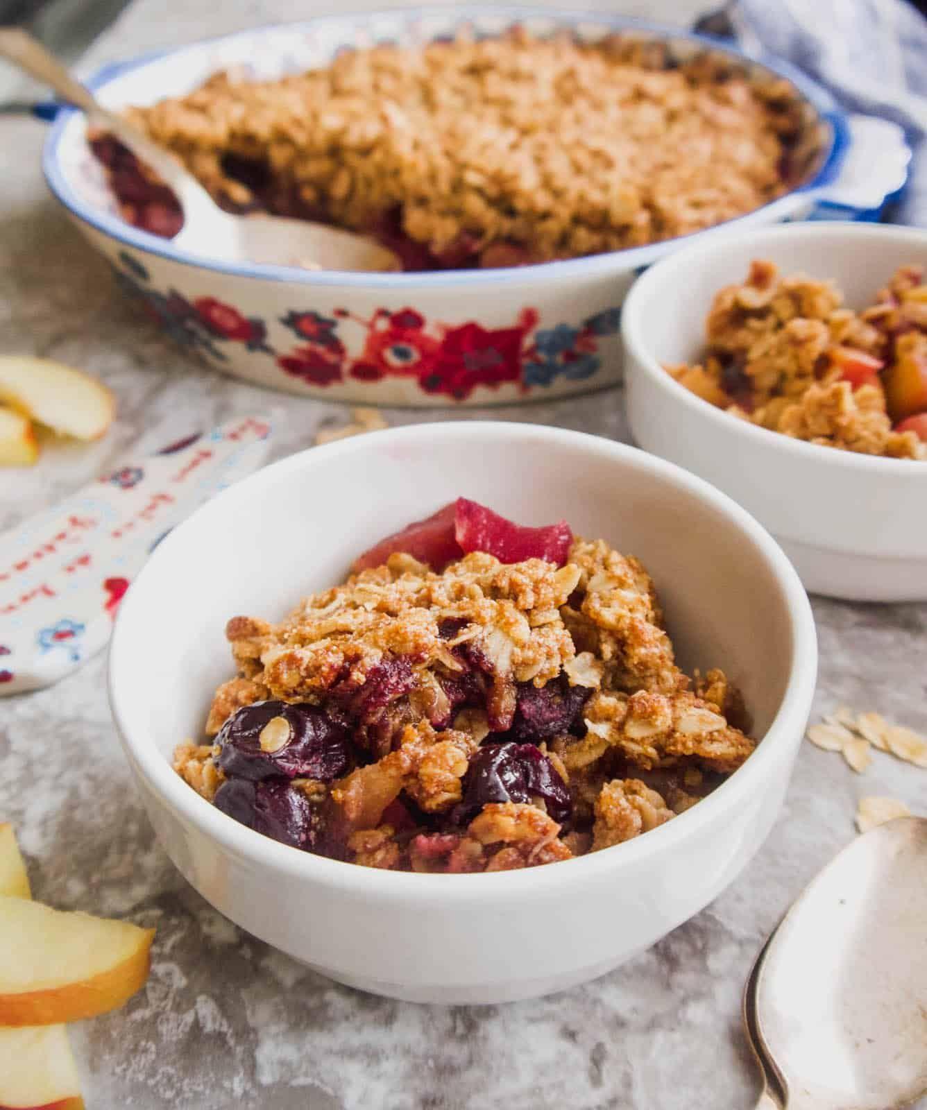 Gluten-Free Apple Cherry Crisp (Vegan)