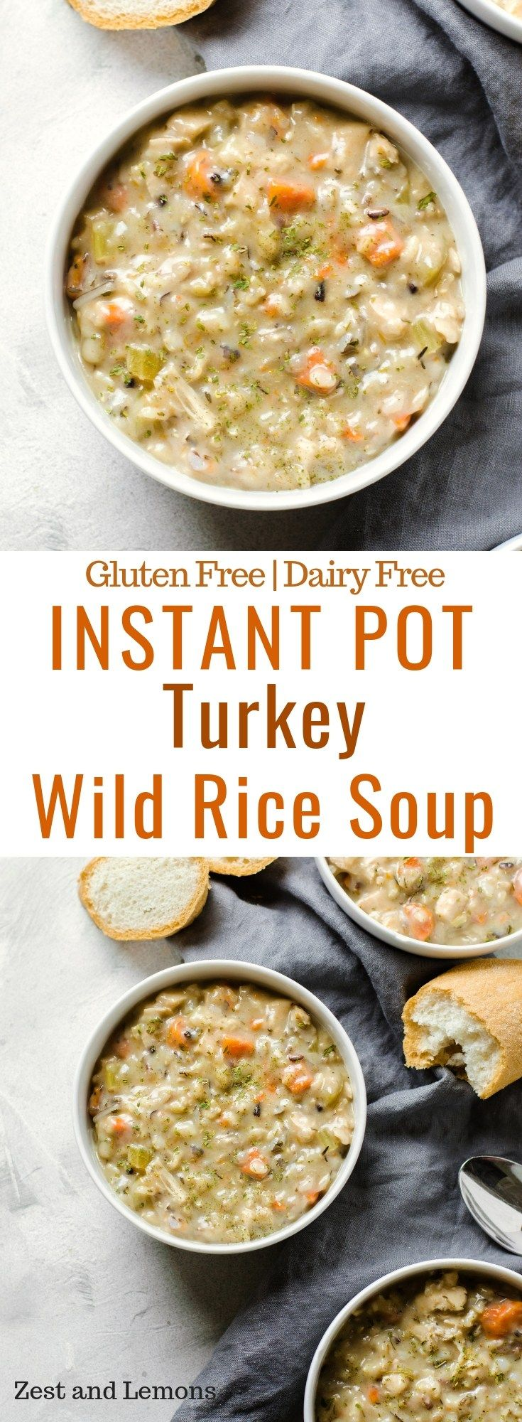 Instant Pot Turkey Wild Rice Soup. A thick and creamy soup for this winter season, and perfect for using leftover Thanksgiving turkey! - Zest and Lemons #instantpotrecipes
