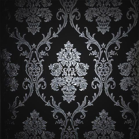 Silver On Black Damask Wallpaper Roll