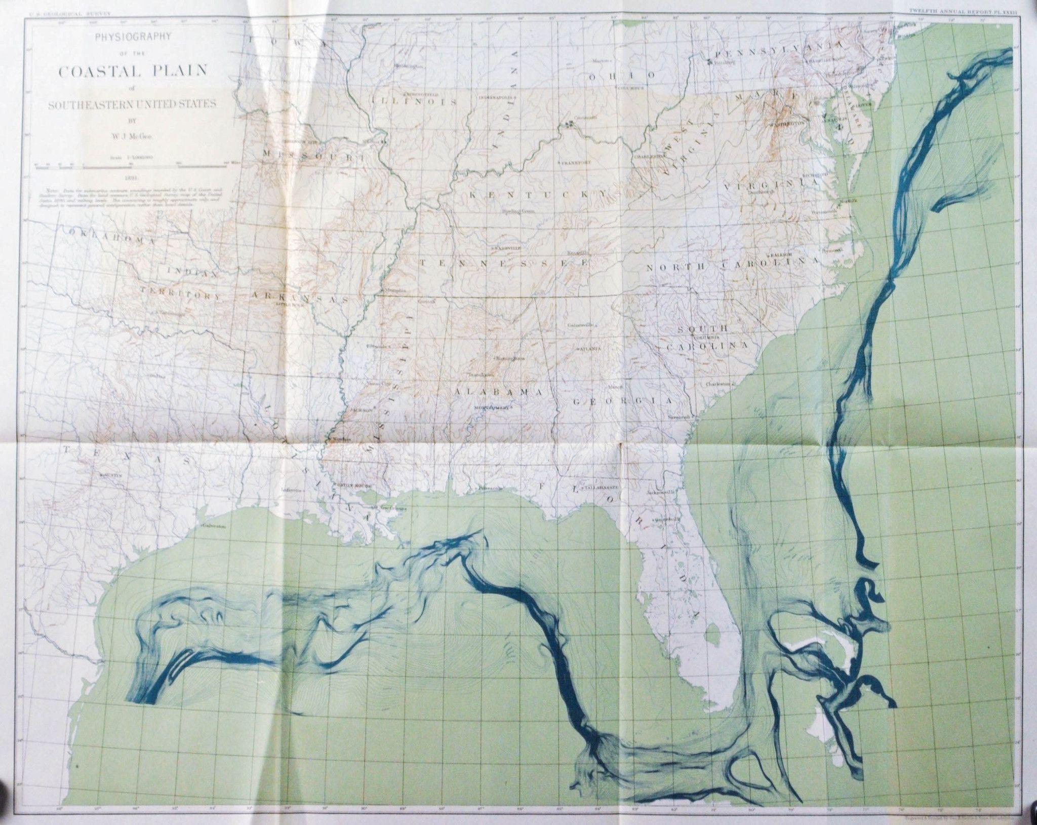 Southern United States Coastal Plain USGS Antique Map 1891 | Antique ...