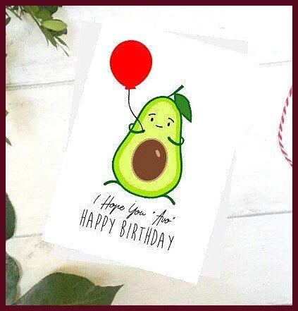 Cute Avocado Birthday Card Holding a Balloon  Avo Hipster Healthy Foodie Vegan Funny Cute Printed S
