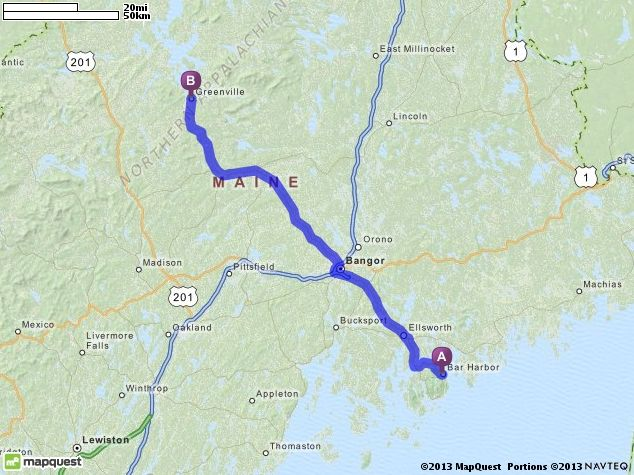 Maine Map Quest.Driving Directions From Bar Harbor Maine To Greenville Maine