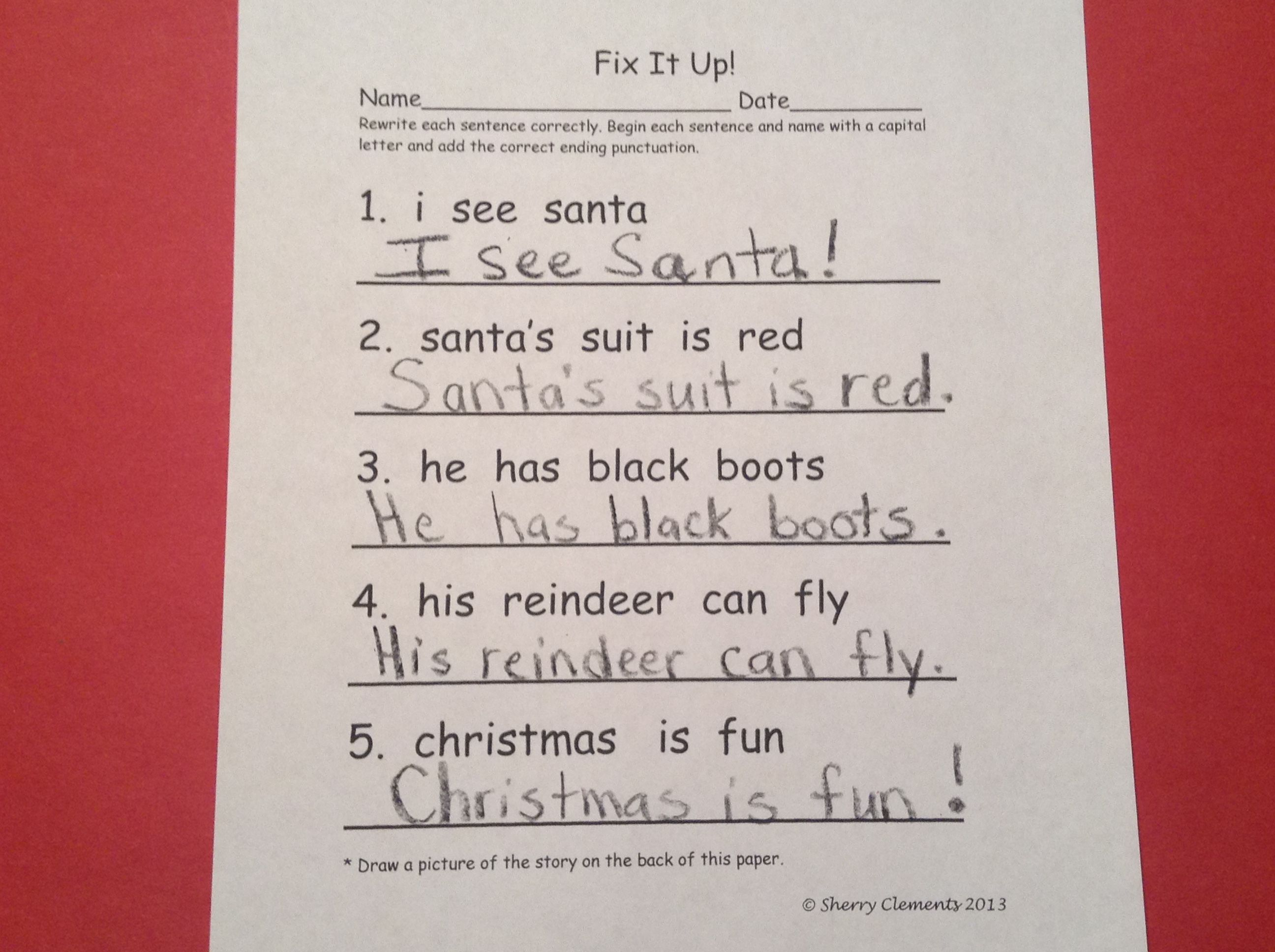 Christmas Fix It Up Sentences Freebie