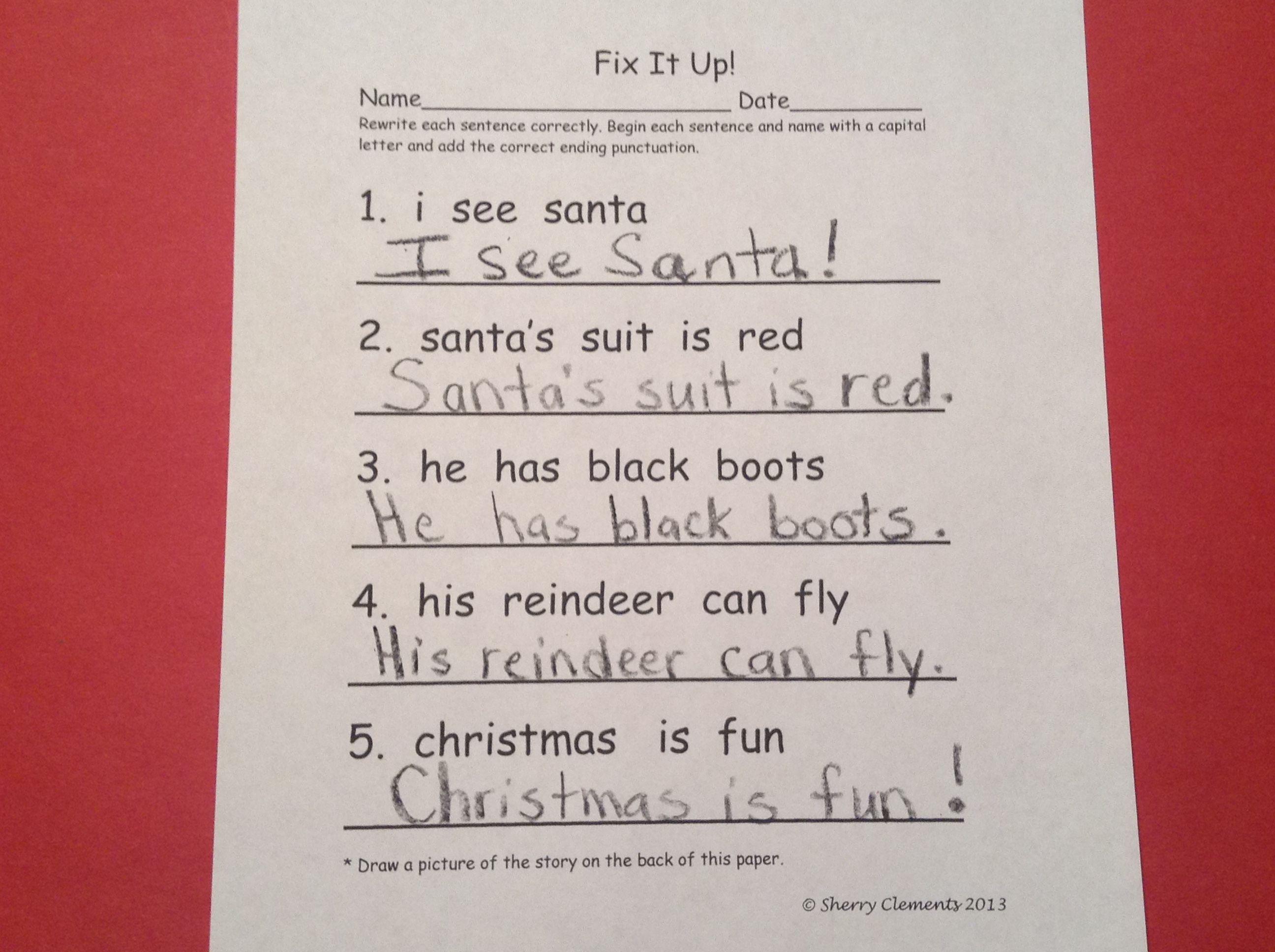 Christmas Fix It Up Sentences Freebie
