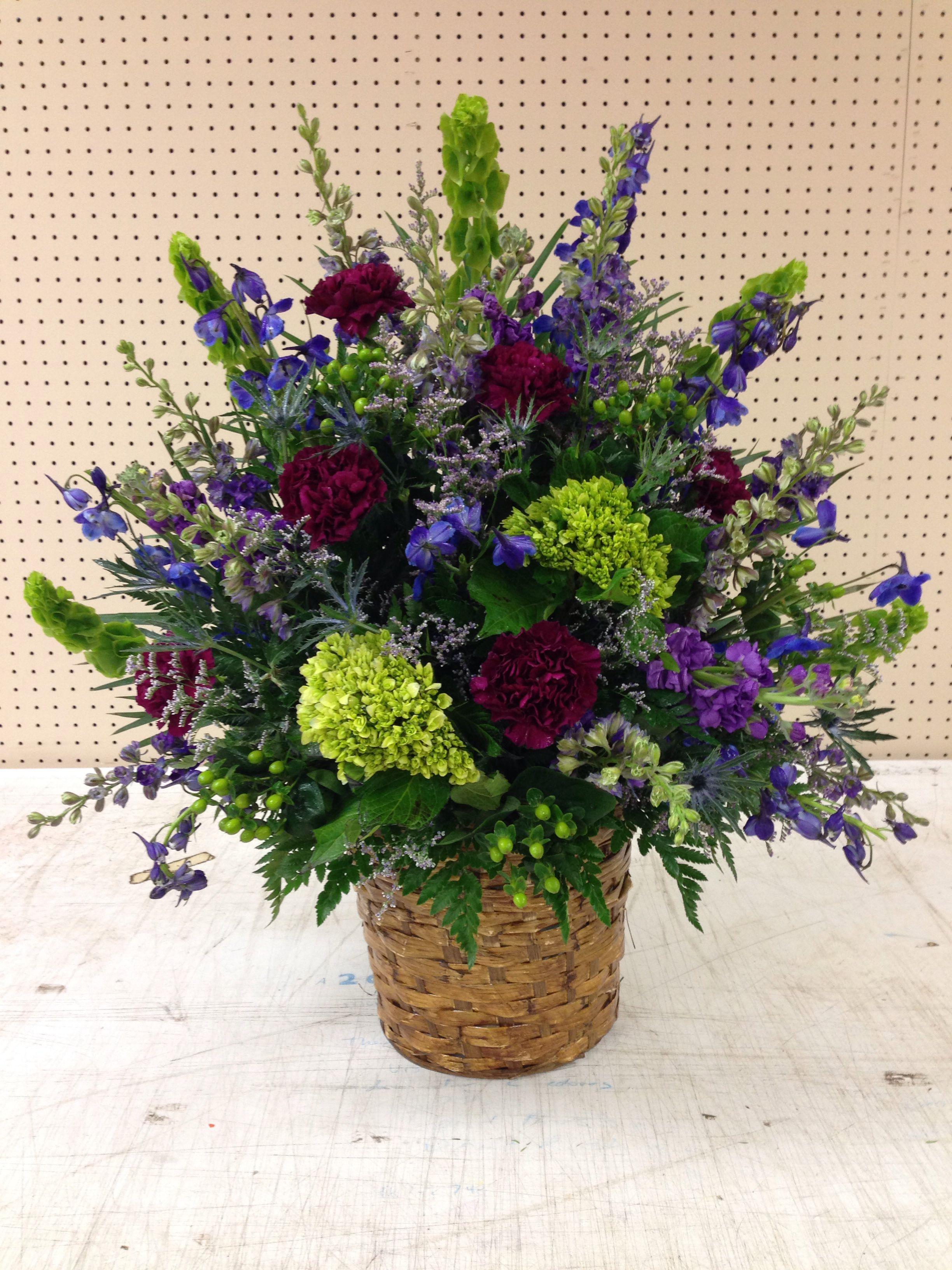 Jewel Tone Wildflower Alter Arrangement For Church Wedding Flowers
