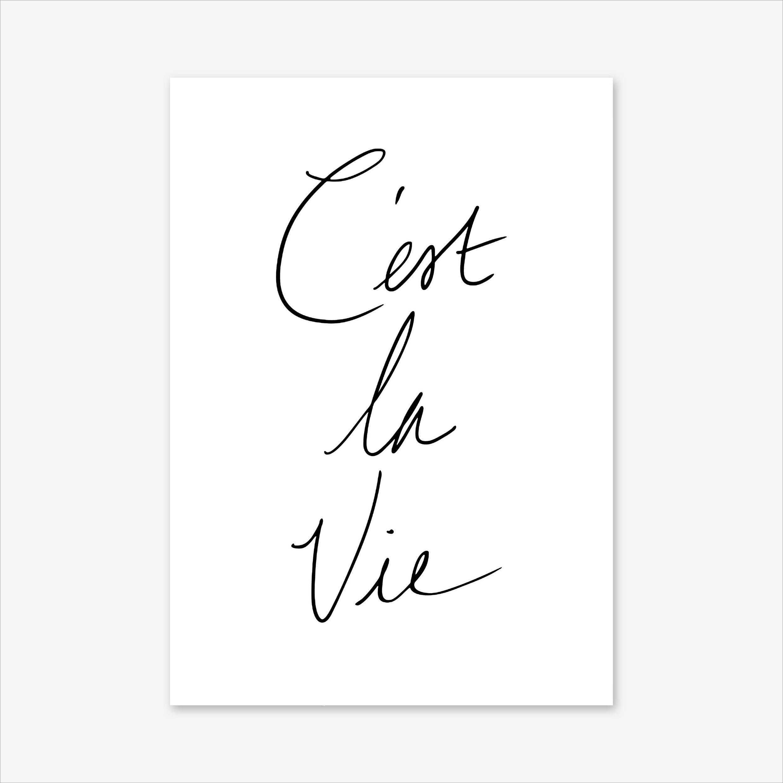 C Est La Vie Print Paris Print French Poster Typography Print French Signs Fashion Print Quote Prints Inspir Quote Prints Print Store Prints