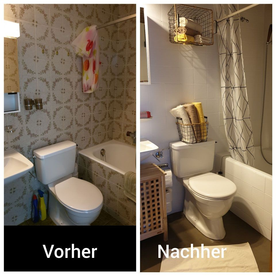 Badezimmer günstig und einfach renovieren.  Fliesen ...