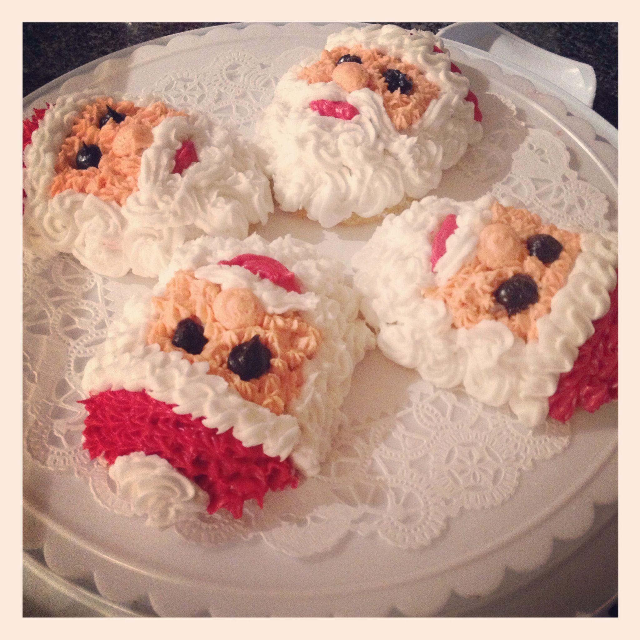 """Individual Santa cakes to sing """"happy birthday Jesus"""