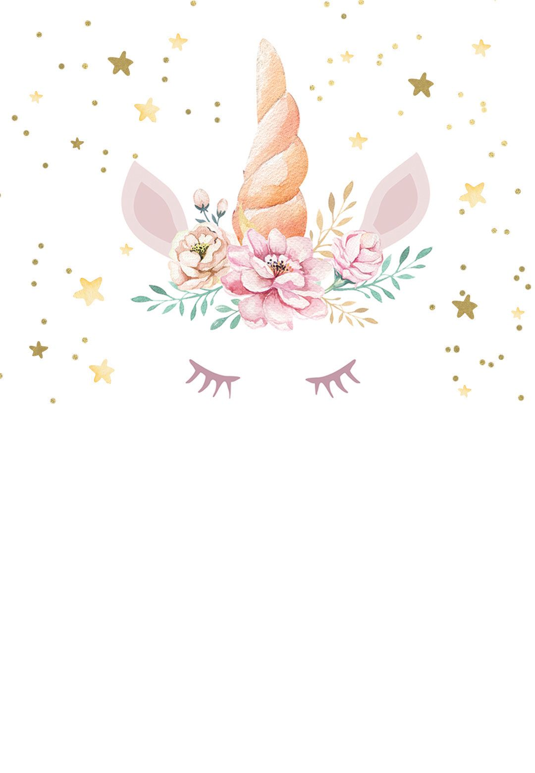 5st floral unicorn - Birthday Invitation Template (free