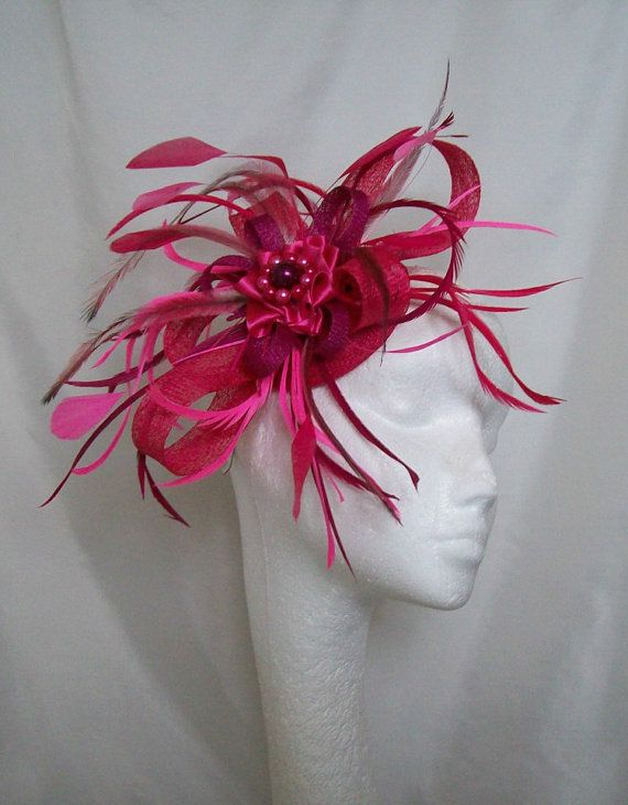 8edac777f6504 Shades of Cerise Magenta   Fuchsia Pink Feather   Sinamay Fascinator Hat  £42.00 Order Now from www.indigodaisyweddings.co.uk Specialising in  stunning ...