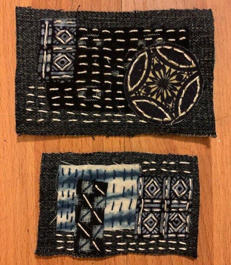 Boro Patches with Sashiko Stitching - Denim and Vi