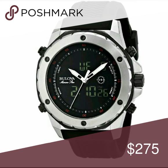 eebe85810 NWT $450 Marine Star Chronograph Black watch Bulova $450 Men's Marine Star  Chrono Black Ana-Digi Dial Watch PRICE $333.00 . AUTHENTIC WATCH .