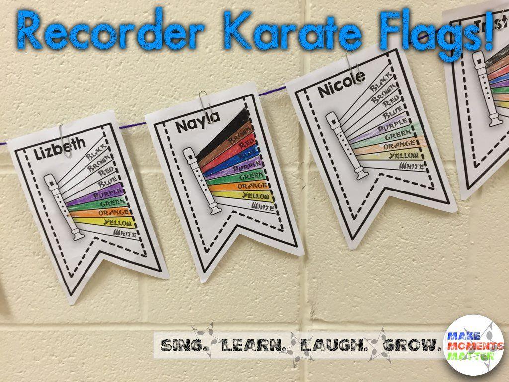 Recorder Karate Flags Displaying Student Progress