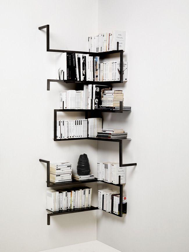 Defringe Corner Bookshelves Creative Bookcases Book Shelves Black Bookshelf