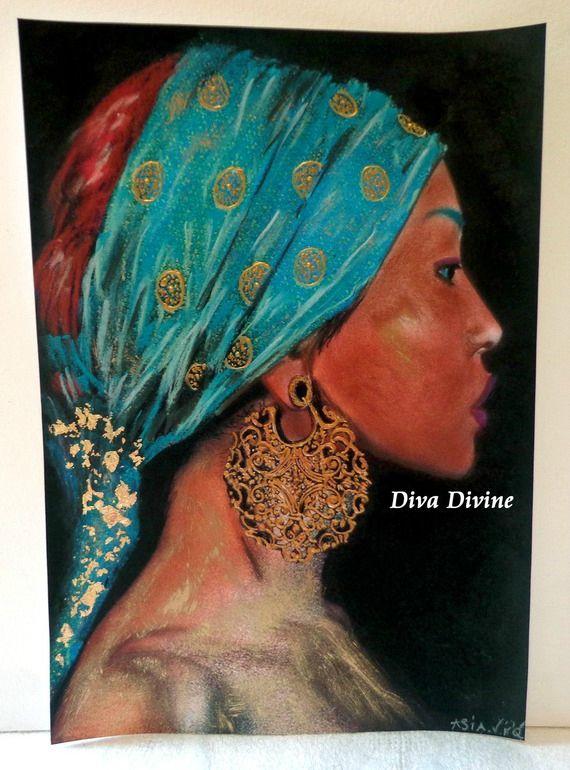 peinture portrait pastel sec pour tableau ethnique indien asia peint a la main pastel. Black Bedroom Furniture Sets. Home Design Ideas