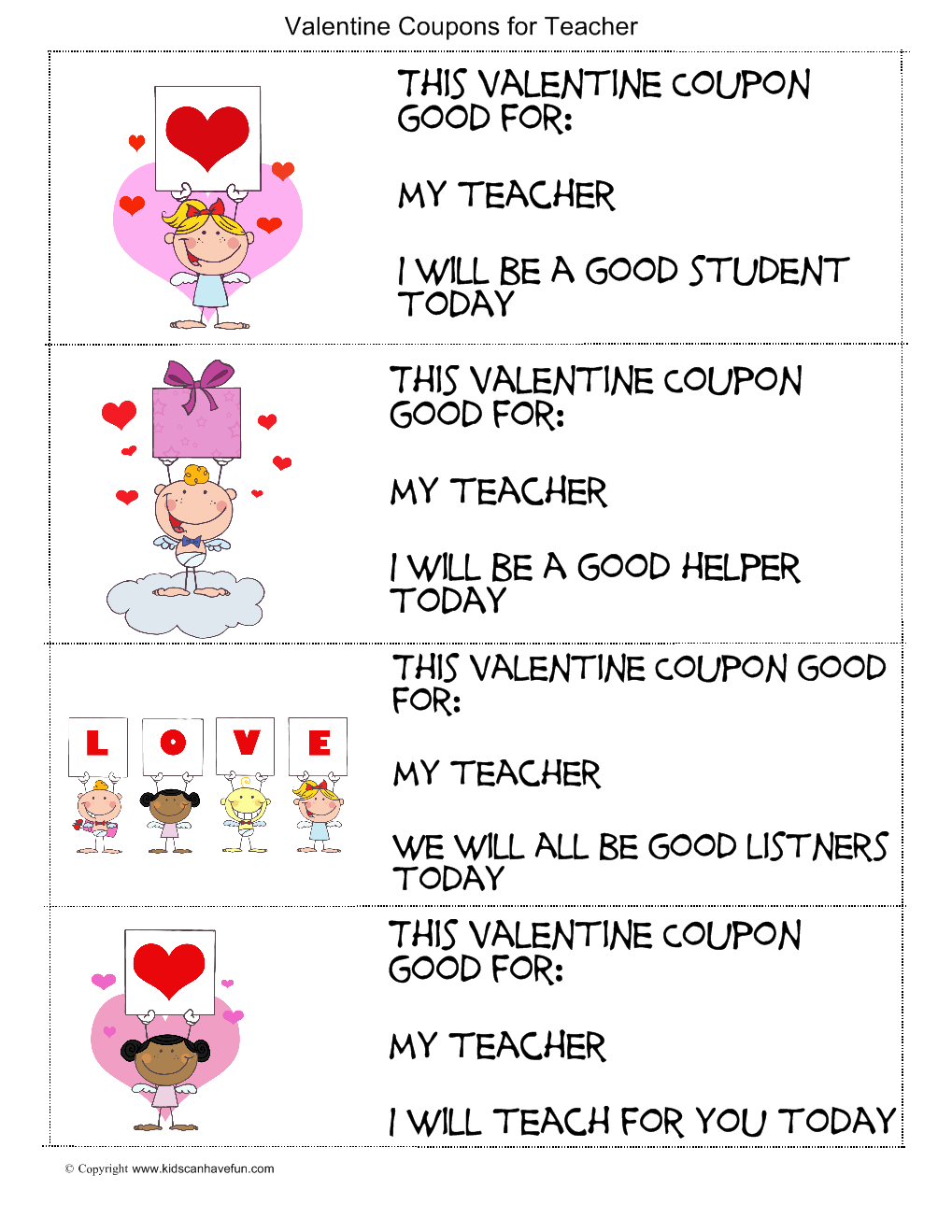 Valentines Day Coupons for Teachers – Valentines Day Coupon