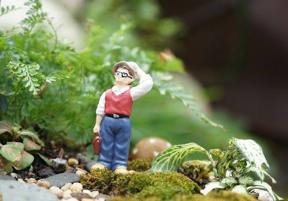 Fairy Garden Accessories Miniature Little Man Studio Ghibli Dad , Miniature Gardening, Terrarium Sup